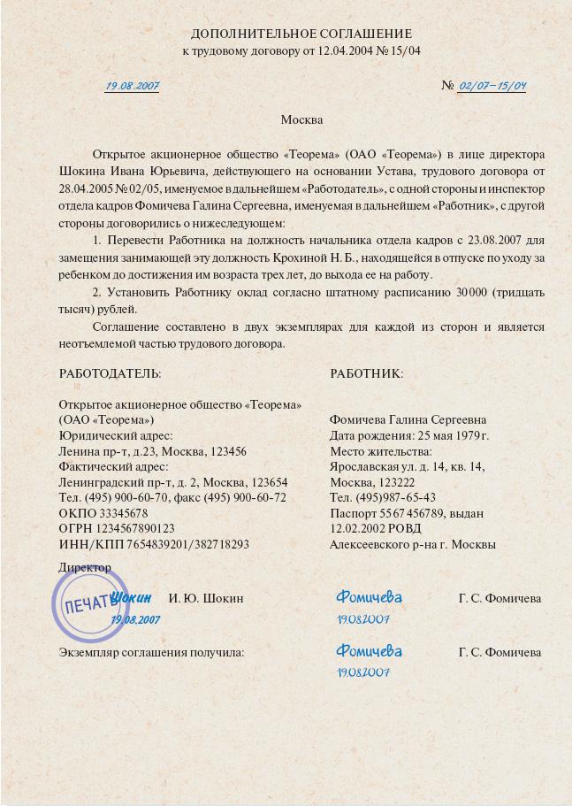 приказ о возложении обязанностей на директора образец