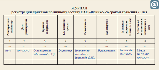 книга приказов по кадрам образец заполнения